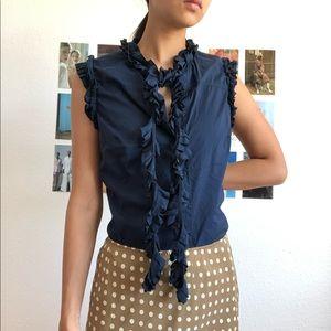 TORY BURCH: size 6 navy ruffle sleeveless blouse